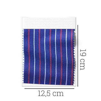 Amostra - Tecido Tricoline Fio 60 - Alexandria 140 - Listra P Vermelho e Cinza - Fundo Marinho