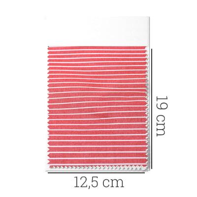 Amostra - Tecido Tricoline Fio 70 - Anit 14 - Listras - Branco com fundo Vermelho
