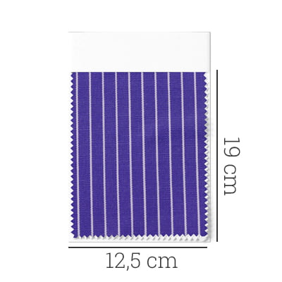 Amostra - Tecido Tricoline Fio 70 - Anit 38 - Listras - Branco com fundo Azul