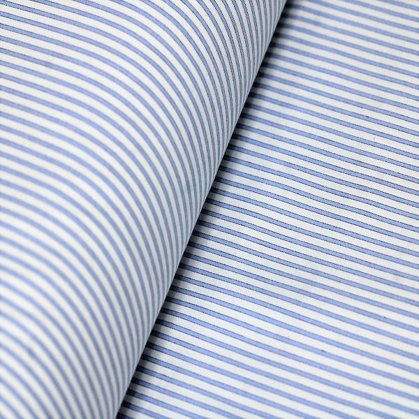 Tecido Camisaria Tricoline Fio 40 - Vine 01 - Listra Azul Claro - Fundo Branco - 100% Algodão