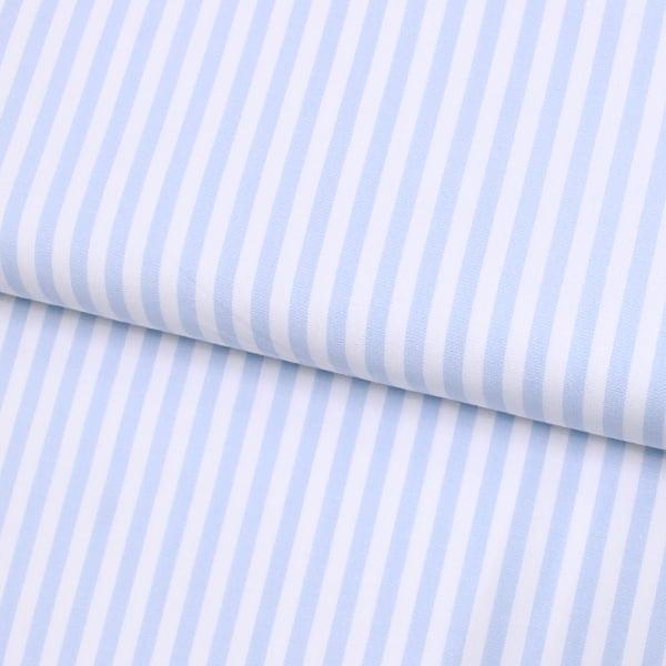 Tecido Camisaria Tricoline Fio 40 - Fio Tinto Listra G - Azul Claro - 100% Algodão