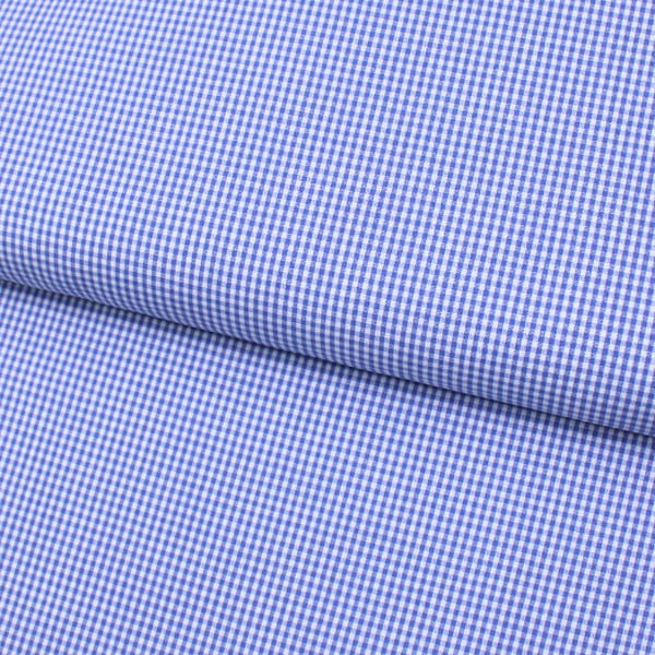 Tecido Tricoline Fio 40 - Fio Tinto Xadrez P - Azul Royal - 100% Algodão