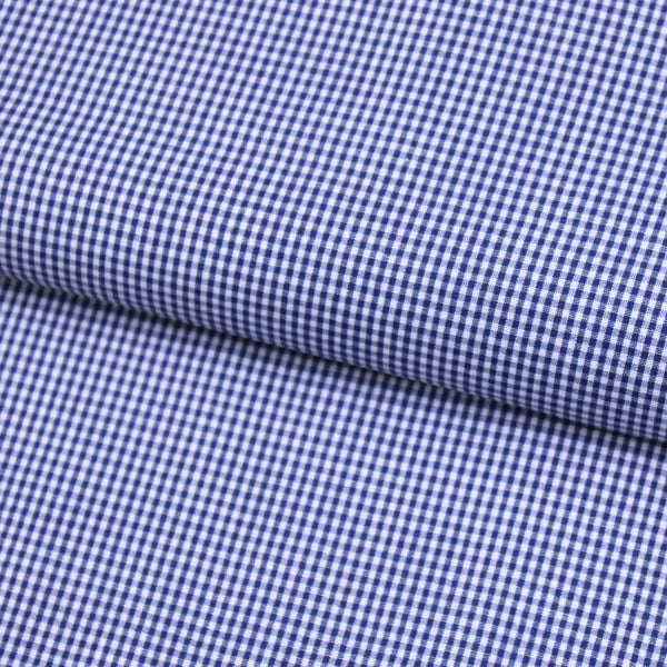 Tecido Camisaria Tricoline Fio 40 - Fio Tinto Xadrez P - Azul Marinho - 100% Algodão