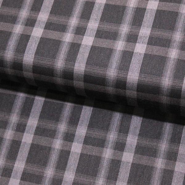 Tecido Tricoline Fio 40 - Xadrez Madras 03 -  Cinza -  Tricoline light 100% Algodão