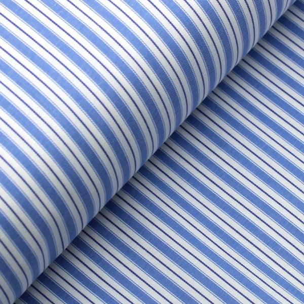 Tecido Tricoline Fio 50 - Sais 12 - Listras - Azul Claro