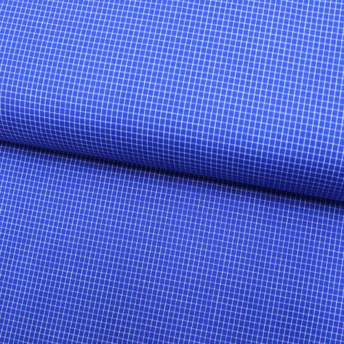 Tecido Camisaria Tricoline Fio 60 - Alexandria 206 - Xadrez Branco - Fundo Azul Royal - 100% Algodão