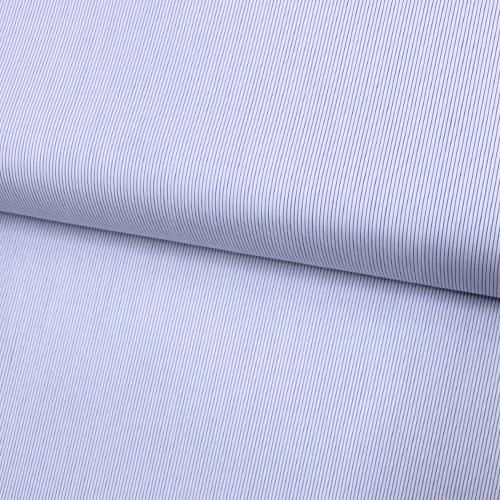 Tecido Camisaria Tricoline Fio 60 - Alexandria 223 - Listra Azul Royal - Fundo Branco - 100% Algodão