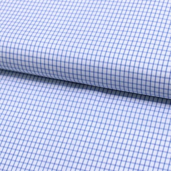 Tecido Tricoline Fio 60 - Alexandria 100 - Xadrez P Azul Claro - 100% Algodão