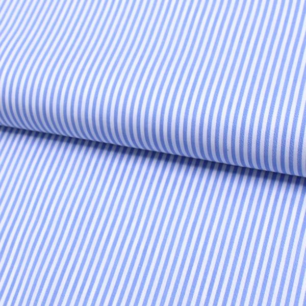 Tecido Tricoline Fio 60 - Alexandria 105 - Listra M Azul Claro - 100% Algodão
