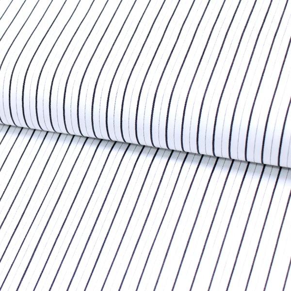 Tecido Tricoline Fio 60 - Alexandria 146 - Listra P Preto - Fundo Branco - 100% Algodão