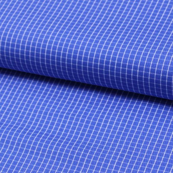 Tecido Tricoline Fio 60 - Alexandria 88 -  Xadrez P Branco - Fundo Azul Claro