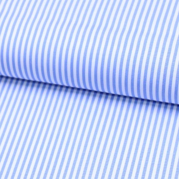 Tecido Tricoline Fio 70 - Anit 18 - Listras P - Azul Claro - 100% Algodão