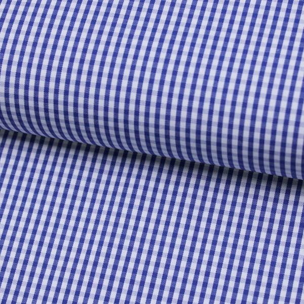Tecido Camisaria Tricoline Fio 70 - Anit 29 - Xadrez P - Azul Marinho - 100% Algodão