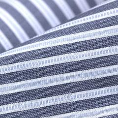 Amostra - Tecido Tricoline Fio 60 - Alexandria 156 - Listra P Cinza e Branco