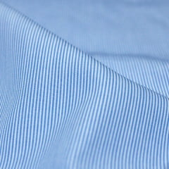 Amostra - Tecido Tricoline Fio 70 - Anit 26 - Listras Micro - Azul Claro