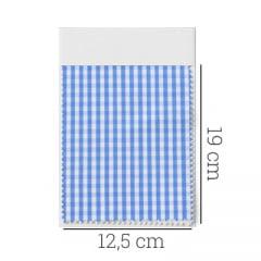 Amostra - Tecido Tricoline Fio 70 - Anit 28 -Xadrez P - Azul Claro