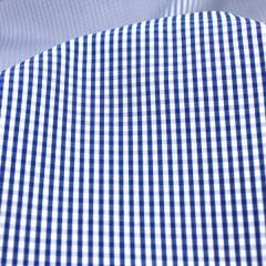 Amostra - Tecido Tricoline Fio 70 - Anit 29 -Xadrez P - Azul Marinho