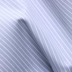 Amostra - Tecido Tricoline Fio 70 - Anit 52 - Listras Branca - Fundo Cinza