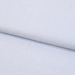 Tecido Tricoline Fio 40 - Vichy 33 - Fio Tinto Xadrez P - Azul Claro - 100% Algodão