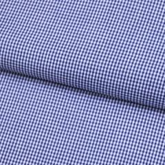 Tecido Tricoline Fio 40 - Vichy 35 - Fio Tinto Xadrez P - Azul Marinho - 100% Algodão