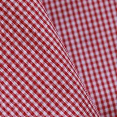 Tecido Tricoline Fio 40 - Vichy 64 - Fio Tinto Xadrez P - Vermelho - 100% Algodão