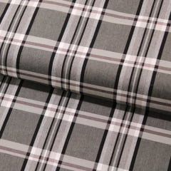 Tecido Tricoline Fio 40 - Xadrez Madras 02 -  Cinza -  Tricoline light 100% Algodão