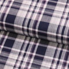 Tecido Tricoline Fio 40 - Xadrez Madras 04 -  Cinza -  Tricoline light 100% Algodão