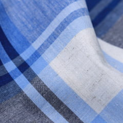 Tecido Tricoline Fio 40 - Xadrez Madras 20 -  Azul Claro e Cinza
