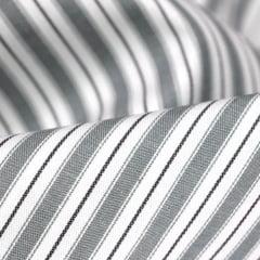 Tecido Tricoline Fio 50 - Sais 10 - Listras - Cinza Claro - 100% Algodão