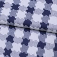 Tecido Sierra 03 - Viscose com Algodão - Xadrez Madras Azul e Cinza