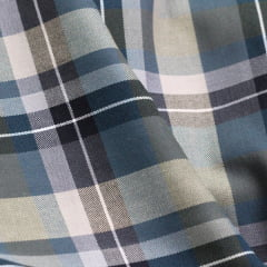 Tecido Sierra 04 - Viscose com Algodão - Xadrez Madras Verde e Cinza