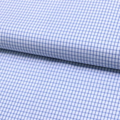 Tecido Tricoline Fio 60 - Alexandria 100 - Xadrez P Azul Claro - Fundo Branco