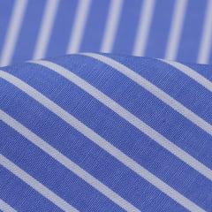 Tecido Tricoline Fio 60 - Alexandria 139 -  Listra M Branca - Azul Royal