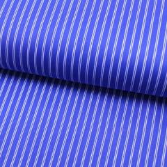 Tecido Tricoline Fio 60 - Alexandria 143 -  Listra Dupla Branco - Fundo Azul Royal