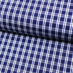 Tecido Tricoline Fio 60 - Alexandria 149 - Xadrez M - Azul Marinho