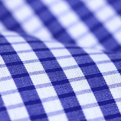 Tecido Tricoline Fio 60 - Alexandria 152 - Xadrez P Branco e Azul Royal - 100% Algodão