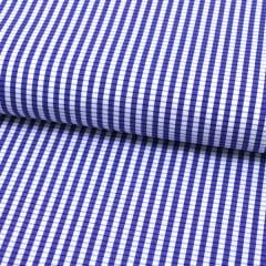 Tecido Tricoline Fio 60 - Alexandria 152 - Xadrez P Branco e Azul Royal