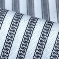 Tecido Camisaria Tricoline Fio 60 - Alexandria 170 - Listra P Preto e Branco - 100% Algodão