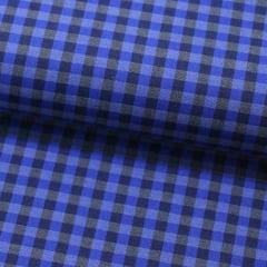 Tecido Camisaria Tricoline Fio 60 - Alexandria 174 - Xadrez P - Azul e Preto - 100% Algodão