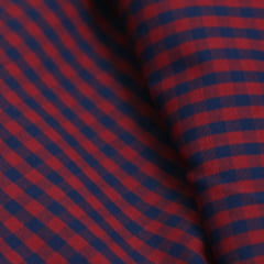Tecido Tricoline Fio 60 - Alexandria 175 - Xadrez P - Vermelho e Marinho - 100% Algodão