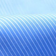 Tecido Tricoline Fio 60 - Alexandria 178 - Lista PP Branca - Fundo Azul Celeste