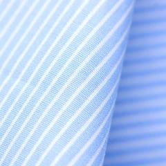 Tecido Tricoline Fio 60 - Alexandria 179 - Lista PP Branca - Fundo Azul Suave