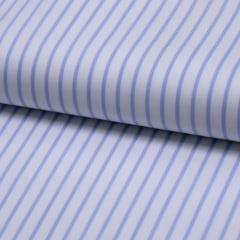 Tecido Tricoline Fio 60 - Alexandria 32 - Listra M Azul Claro - 100% Algodão