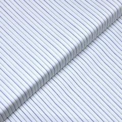 Tecido Tricoline Fio 60 - Florença 04 - Listras Preto e Azul - Fundo Branco - 100% Algodão