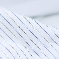 Tecido Tricoline Fio 60 - Florença 04 - Listras Preto e Azul - Fundo Branco