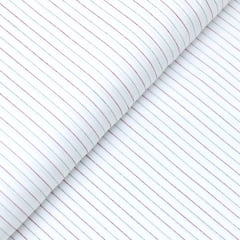 Tecido Tricoline Fio 60 - Florença 03 - Listras Preto e Vermelho - Fundo Branco - 100% Algodão