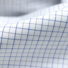 Tecido Tricoline Fio 60 - Florença 01 - Quadriculado Preto e Azul - Fundo Branco