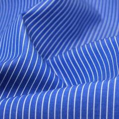 Tecido Tricoline Fio 70 - Anit 38 - Listras  -  Branco com fundo Azul