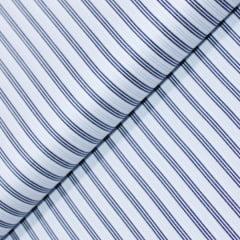 Tecido Tricoline Fio 80 - Milão 07 - Listras Triplas Azul - Fundo Branco